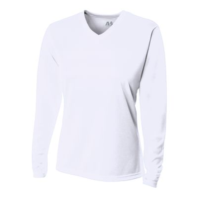 Ladies' Birds-Eye Mesh Long Sleeve V-Neck T-Shirt Thumbnail