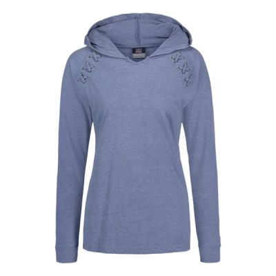Women's Lace Shoulder Hooded Pullover T-Shirt Thumbnail